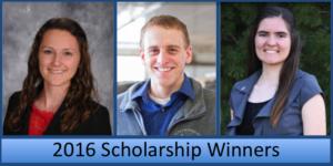Winners of the 2016 NHWSO Scholarships: Jill Seiler, Charlie Hamilton, and Elizabeth Endres.